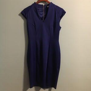 NY&Co Blue Stretch Bodycon Sheath Dress w/ V-Neck